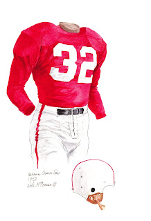 1952 Alabama Crimson Tide football uniform original art for sale