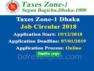 Taxes Zone-1 Dhaka Job Circular 2018