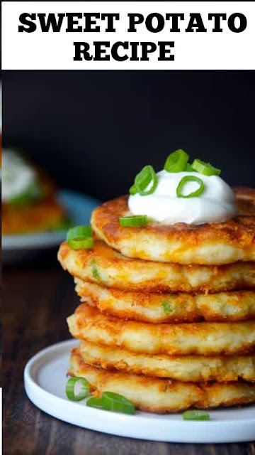Sweet Potato Recipes - Cheesy Leftover Mashed Potato Pancakes #sweet #potato #recipes #sweetpotatorecipes #sweetpotato #pancakes #leftover #mashedpotato #potatoes