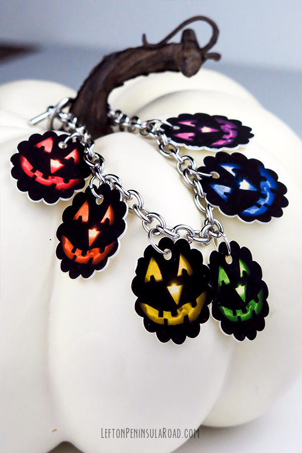Make a Halloween bracelet with shrink plastic.