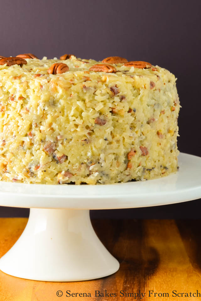 German Chocolate Cake with Coconut Pecan Frosting from serenabakessimplyfromscratch.com