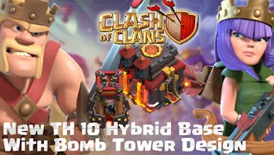 Base Hybrid TH 10 COC Update Bomb Tower Terbaru 2017