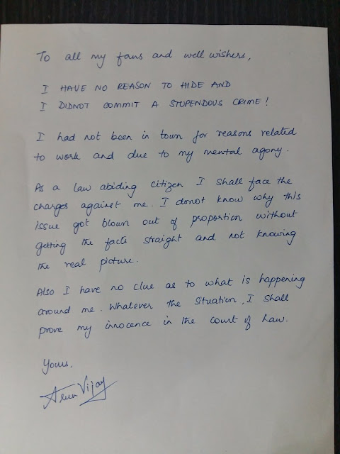 Letter Wrote By Actor Arun Vijay For His Fans