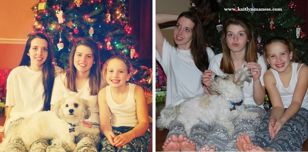 Sisters and dog in Christmas pajamas.