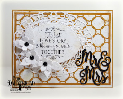 Our Daily Bread Designs Stamp Set: Happily Ever After, Custom Dies: Mr & Mrs, Scalloped Chain, Ovals, Layered Lacey Ovals, Bitty Blossoms, Paper Collection: Wedding Wishes
