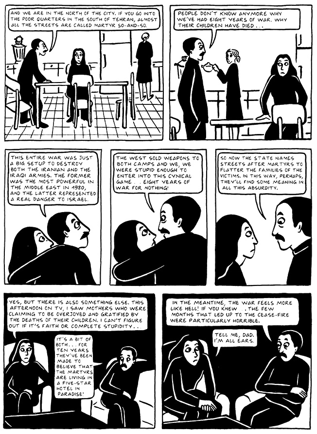 Read Chapter 10 - The Return, page 99, from Marjane Satrapi's Persepolis 2 - The Story of a Return
