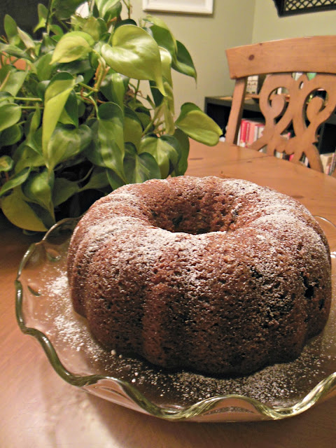 Applesauce and Spice Chocolate Chip Cake, applesauce and spices baking into a chocolate chip bundt cake.