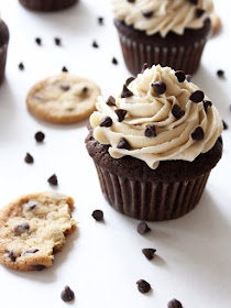 cupcakes topped with cookie dough frosting and mini chocolate chips