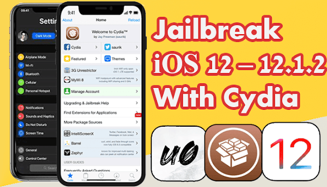 طريقة عمل جلبريك 12 بدون كمبيوتر اصدار  iOS 12 إلى iOS 12.1.2