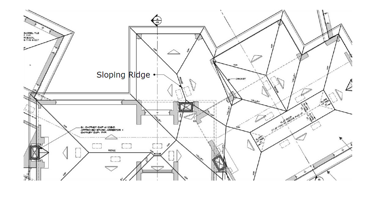 Roof framing geometry sloping ridges for Roof plan drawing