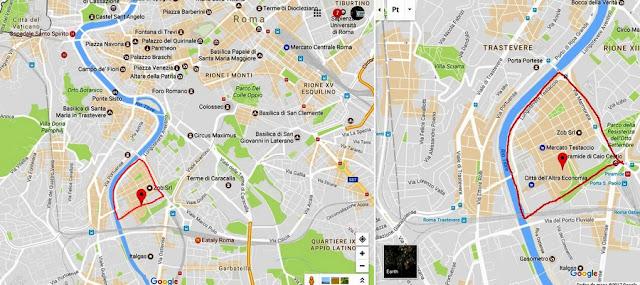 Localização do bairro do Testaccio no mapa de Roma