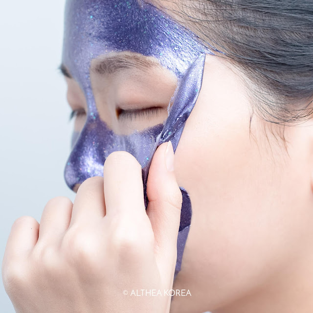 purple, peel off mask, k-beauty, althea, peel, cosmetics, skincare, glitter, holographic, iridescent, magic, prreti, swatch, skin, texture, test, smooth