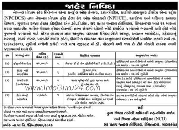 NPCDCS and NPHCE Himmatnagar Recruitment 2016