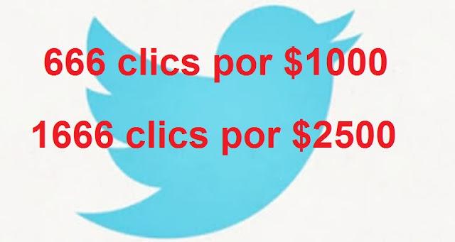 Twitter Promociona 666 Clics por 1000 dolares