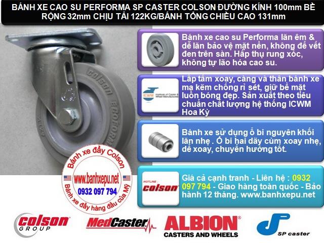 Bánh xe đẩy cao su đặc di động 4 inch chịu lực 122kg | S2-4256-TPE www.banhxedayhang.net