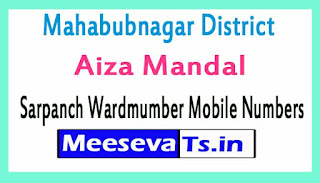 Aiza Mandal Sarpanch Wardmumber Mobile Numbers List Part I Mahabubnagar District in Telangana State