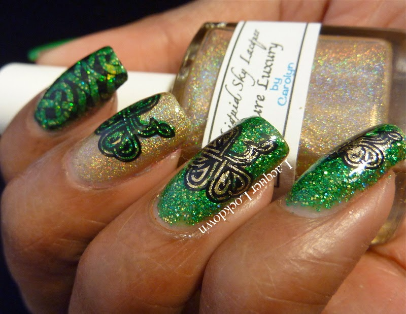 Lacquer Lockdown - Messy Mansion MM04, MM04, L, Mundo de Unas #2, Liquid Sky Lacquer Head To The Rainbow, Essie Marshmellow, stamping, nail art, pueen 2014, Messy Mansion, watermarble, St. Patrick's Day, St. Patty's Day, nail art, nail art ideas, diy nail art, diy nails, essy nail art, advanced stamping, celtic knots, clovers, irish knots, stylized clover, Liquid Sky Lacquer Pure Luxury