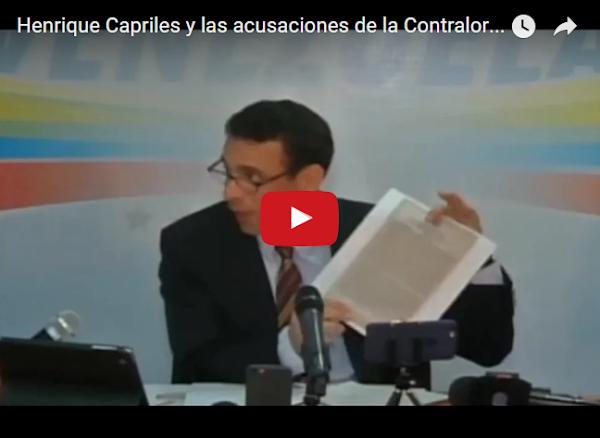 Henrique Capriles será inhabilitado por la controlaría éste jueves