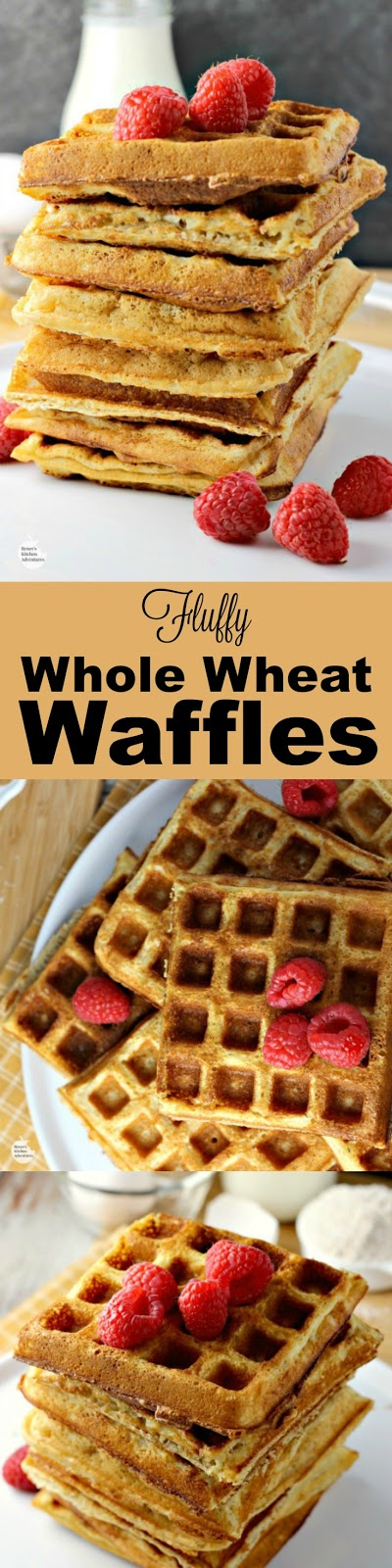 Fluffy Whole Wheat Waffles | by Renee's Kitchen Adventures - recipe for homemade whole grain buttermilk waffles that cook up light and fluffy! #RKArecipes