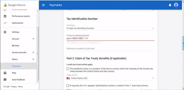 طريقة إغلاق الملف الضريبي tax info جوجل أدسنس أمريكي W9
