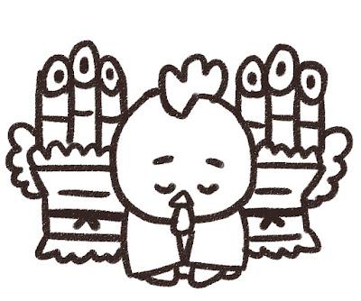 門松の前で挨拶をするニワトリのイラスト(酉年・白黒線画)