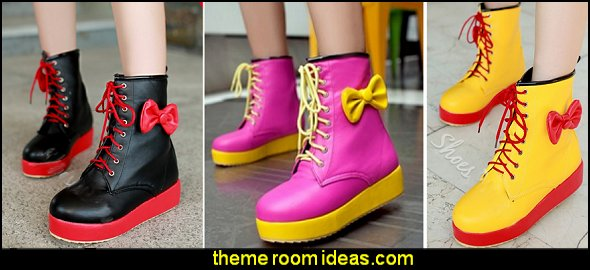 Cute Two Tone Color Block Platform Ankle Boots