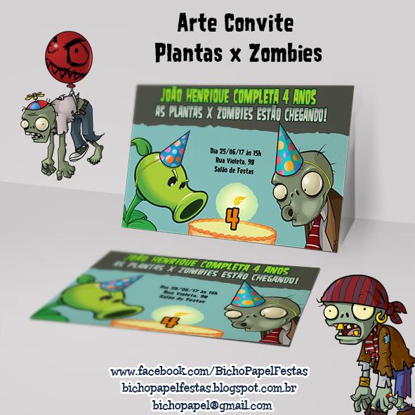 Convite Plantas vs Zombies