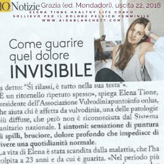 Elena Tione intervistata sulla vulvodinia per il femminile 'Grazia' (ed. Mondadori), uscita 22/2018