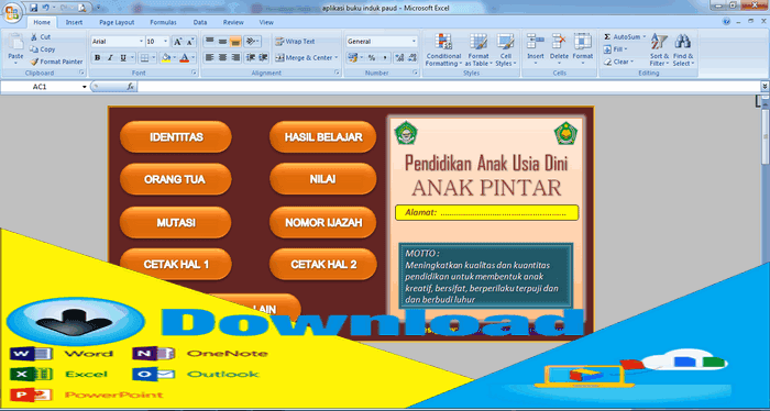 Download Aplikasi Buku Induk PAUD Format Excel.xls