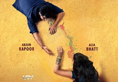 Arjun Kapoor leaning towards Alia Bhatt on a large map of India for 2 States movie