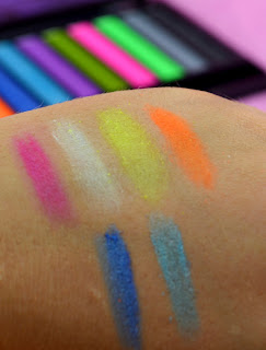 Makeup Revolution - Acid Brights - Eyeshadow palette - review - swatches - Urban decay Electric dupe