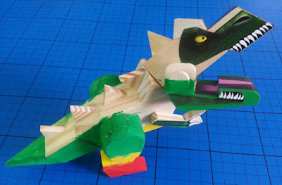 Interplay wooden Wood Worx Dinosaur model side view