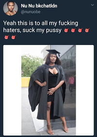 lady celebrated her graduation on Twitter