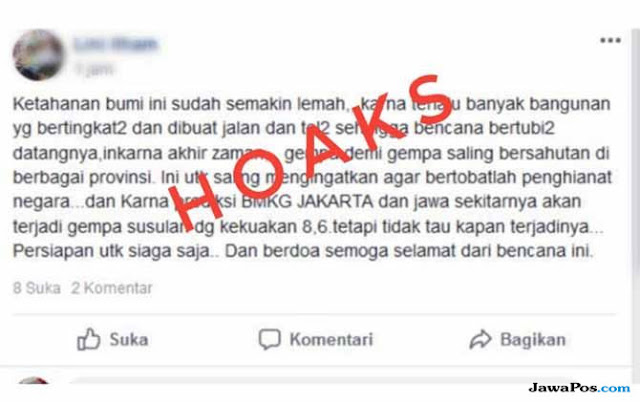Sebarkan Hoax Gempa di Media Sosial, Seorang Wanita di Pekanbaru Diamankan