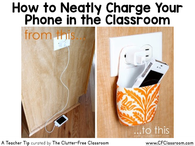 This tip will make it easy to charge your phone in the classroom without having wires exposed.