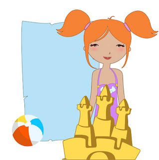 Clipart Image of a Little Girl Building a Sandcastle at the Beach