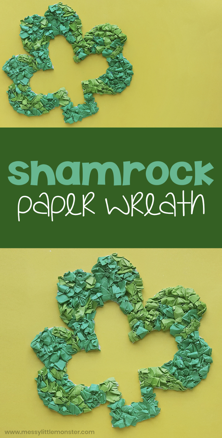 St Patricks Day craft for kids. Shamrock paper wreath with printable shamrock template. Easy shamrock craft for preschoolers.