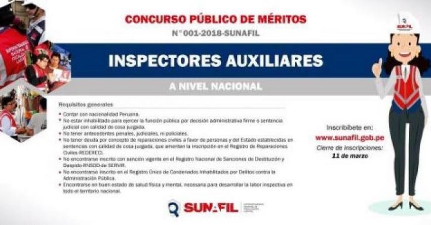 SUNAFIL: Hasta mañana inscripción a concurso público de inspectores auxiliares a la Superintendencia Nacional de Fiscalización Laboral - www.sunafil.gob.pe