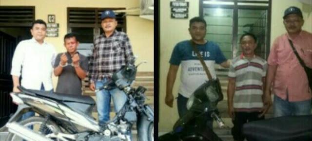 Dua tersangka pencurian sepedamotor di Asahan yang diringkus polisi.