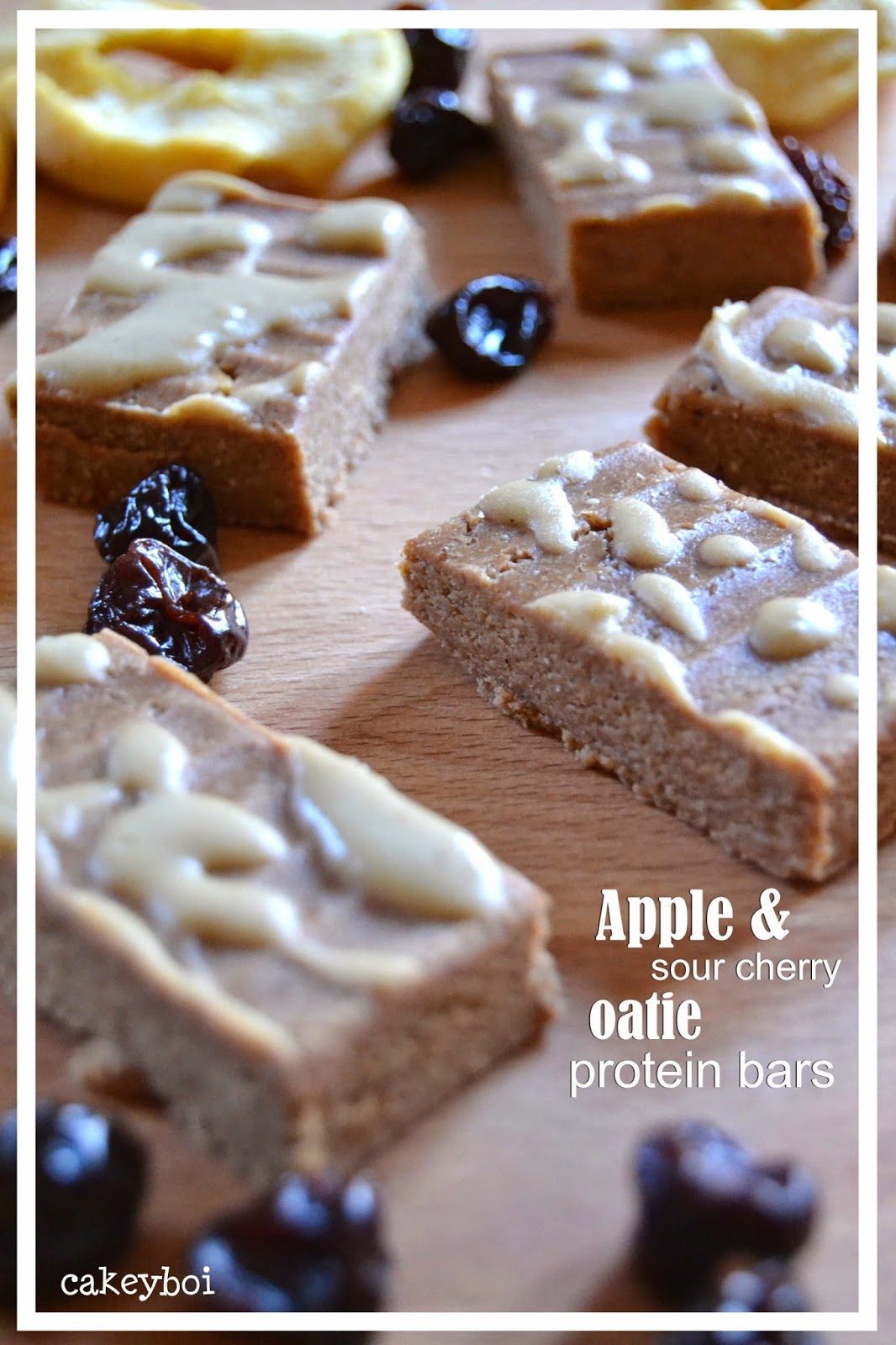 Apple and Sour Cherry Oatie Protein Bars