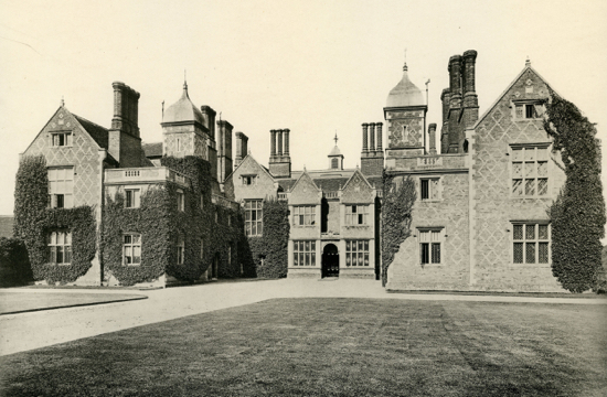 A  rare photograph of the north wing and entrance hall of North Mymms House, prior to the alterations in 1893 Image from The Peter Miller Collection