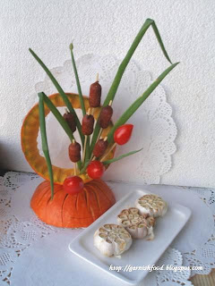 snack arrangement in a pumpkin frame