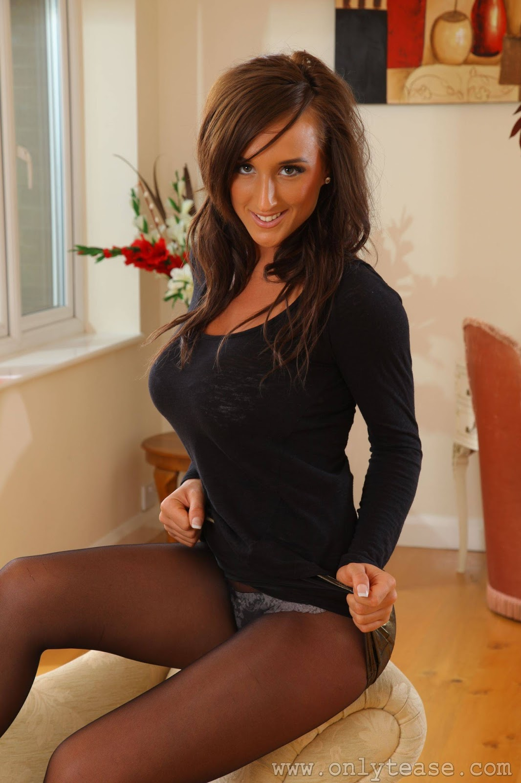 My Top Glamour Models Stacey Poole - Only Tease - Teasing In A Gold Mini Skirt  Black Pantyhose-6454