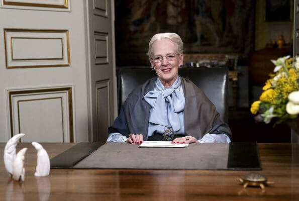 Queen Margrethe gave her New Year speech at Christian IX's Mansion at Amalienborg Palace. three tupilaks - the ancestor's soul