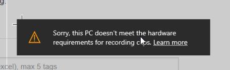حل مشكلة تسجيل الفيديو بويندوز 10 (امكانيات الجهاز غير كافية)this pc doesn't meet the hardware requirments for recording clibs