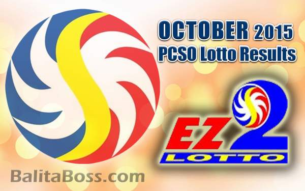 October 2015 EZ2 2-Digit Game PCSO Lotto Results