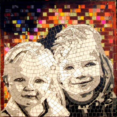 "mosaic portrtait of two young children, 18 x 18"", glass, May 2013,"