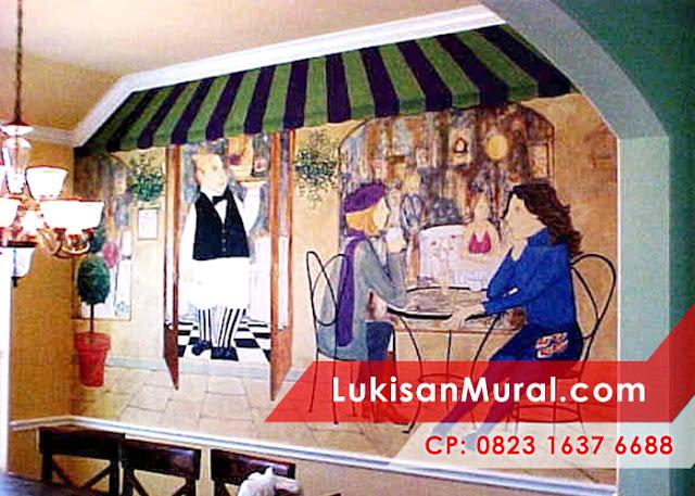 Café wall mural