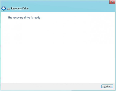 windows 8 recovery drive created successfully