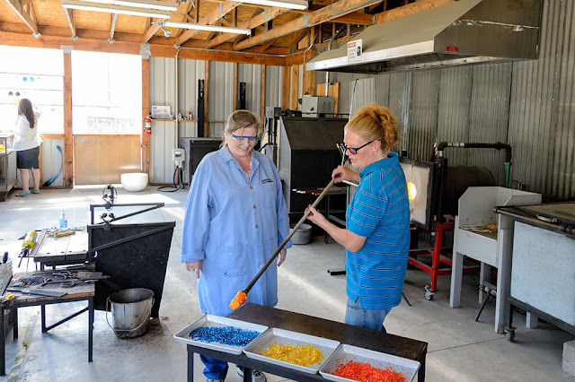 Peg and Amy pick colors at Golden Glassblowing Experience - Skagway, Alaska